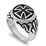 Stainless Steel Flaming Iron Cross Men's Ring Size 11