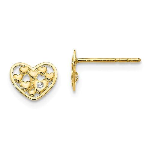 14K Madi K CZ Childrens Heart Post Earrings
