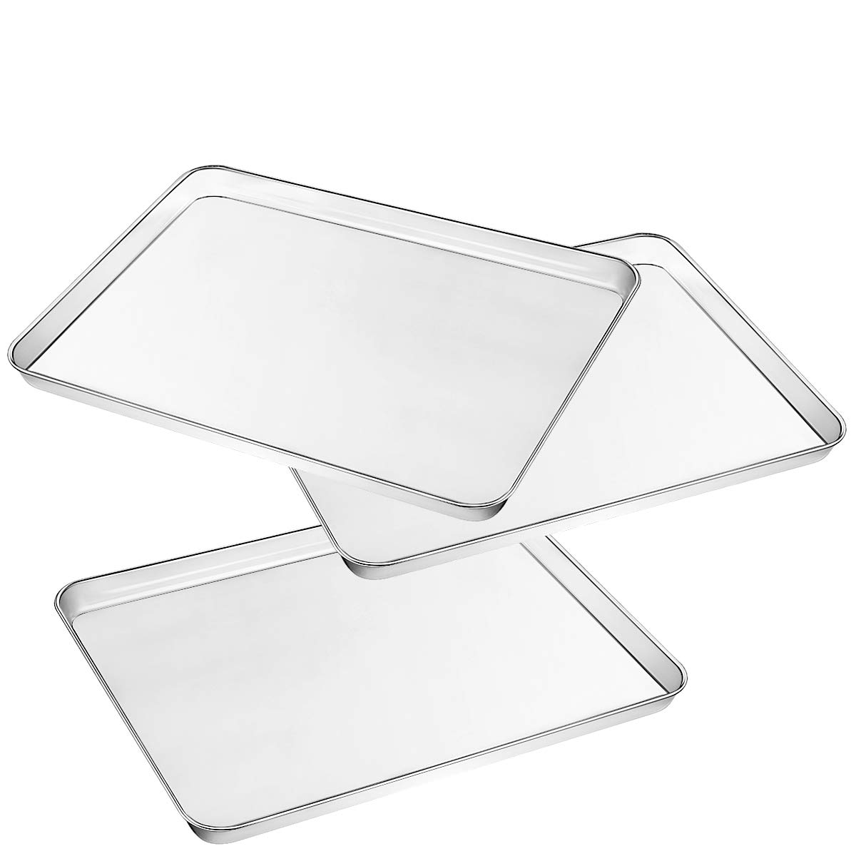Umite Chef Baking Sheet Pan for Toaster Oven, Stainless Steel Baking Pans Small Metal Cookie Sheets, Superior Mirror Finish Easy Clean, Dishwasher Safe, 3 Pieces/Set (16 x 12 x 1 inch)