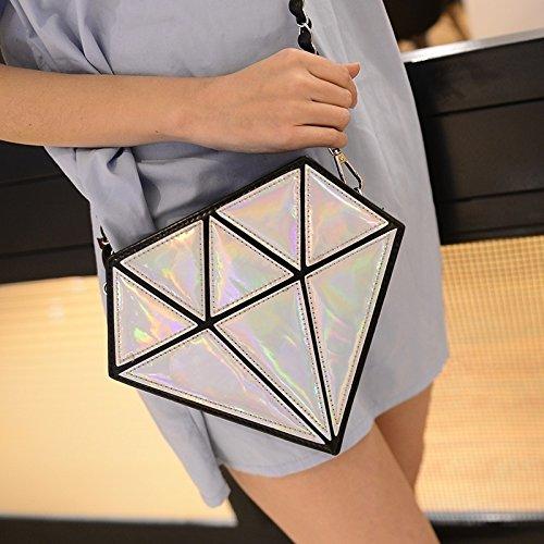 Sac hanche Diamant Forme de Guet Silver Femme de cha hologramme de ne argent holographique Messenger de FAqRwCw