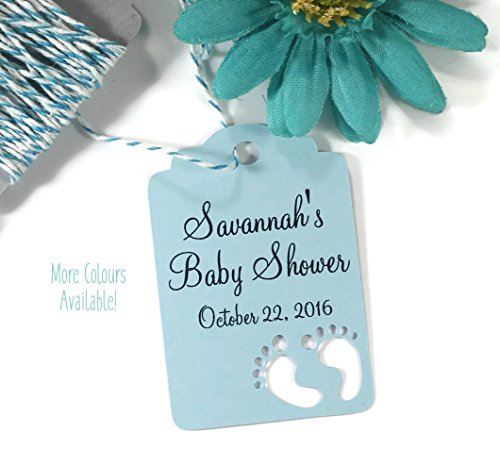 Personalized Baby Blue Shower Tags for Favors (Set of (Male Medley)