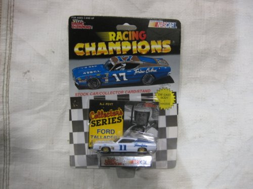 NASCAR #11 A.J. Foyt Ford Racing Team Stock Car With Driver's Collectors Card And Display Stand. Racing Champions Collector's Series Ford Talladega With Gold & Blue #17 Ford Torino Cobra Series Car On Top Of Package. (Torino Stock)