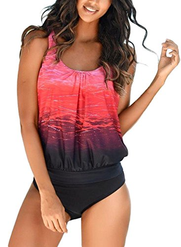 Happy Sailed Women Sporty Color Block Print Tankini Top with Bikini Bottoms Tankini Set Outdoor Swimsuit X-Large Red