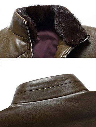 parka hombre m de fina cuero polar Cuello red de invierno desmontable de de piel para abrigo PJK chaqueta piel forro wc4PqIgq