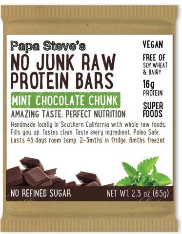 Papa Steve's No Junk Raw Protein Bars, Mint Chocolate Chunk, 2.3 oz, 10 Count