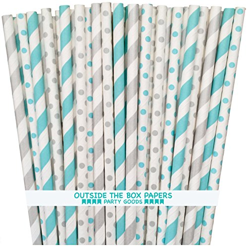 Paper Straws - Light Blue Silver White - Stripe Polka Dot - 7.75 Inches - 100 Pack - Outside the Box Papers Brand ()