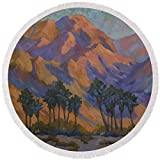 Pixels Round Beach Towel With Tassels featuring ''Palm Oasis At La Quinta Cove'' by Diane McClary