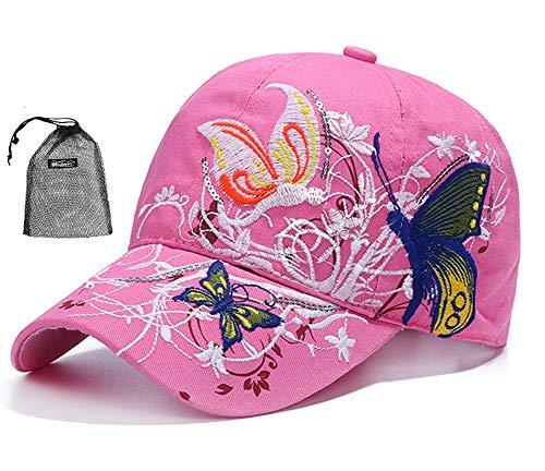 Qchomee Sombrero de béisbol con diseño de mariposa y mariposa para mujer, ideal para viajes, deportes, playa, protección solar, fiesta, etc. rosa