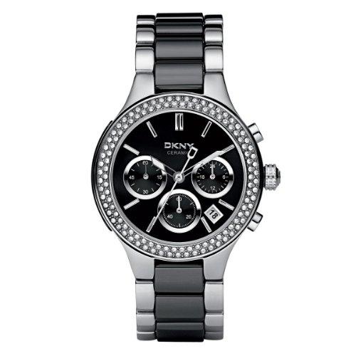 Armbanduhr damen schwarz  DKNY Damen-Armbanduhr Chronograph Quarz verschiedene Materialien ...