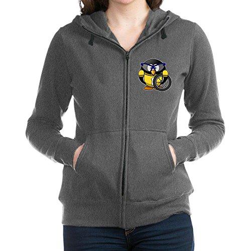 Truly Teague Women's Zip Hoodie (Dark) Little Round Penguin - Cyclist in Yellow Jersey - Charcoal Heather, 2X