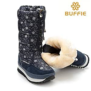 Amazon.com: KathShop Designer Snowflake Print Snow Boots