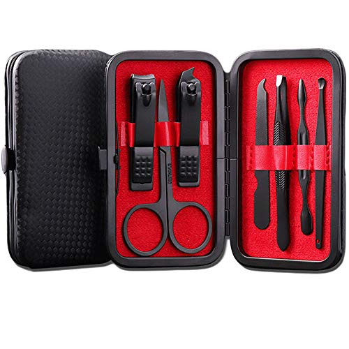 (Nail Clipper Travel Set - VISTON 7 in 1 Black Stainless Steel Nail Scissors Manicure Kit Travel Manicure Pedicure Kit With Leather Case for Women& Men)