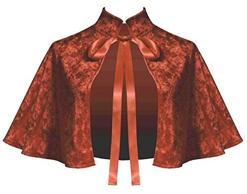 Price comparison product image Cykxtees Victorian Gothic Renaissance Steampunk Velvet Collar Capelet Rust