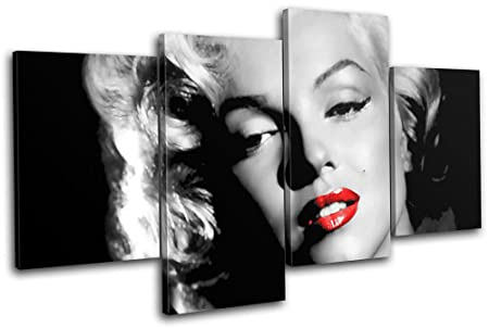 Bold Bloc Design – Marilyn Monroe Iconic Celebrities 160x90cm MULTI Canvas Art Print Box Framed Picture Wall Hanging – Hand Made In The UK – Framed And Ready To Hang