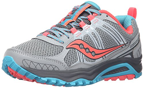 Saucony Women's Grid Excursion Tr10 Trail running Shoe, Grey/Blue/Combo, 5 M US