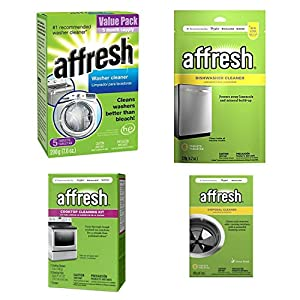 Affresh Washing Machine and Dishwasher Cleaner - Bundle Includes 4 items – Cooktop Cleaning Kit, Disposal Cleaner, Clothes Washer, and Dishwasher Cleaner - Used To Refresh Your Kitchen Appliances