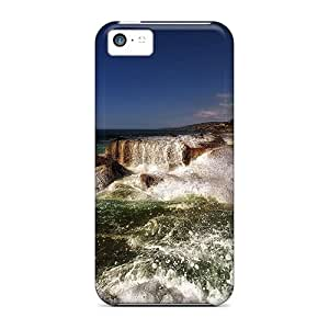 Great Hard Cell-phone Case For Apple Iphone 5c (ZYY831kFXH) Customized Colorful Sea Waves Crashing On Rocky Shore Pictures