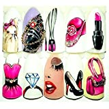 1 Sets Woman Sexy Girl Nail Art Sticker DIY Manicure Water Transfer Nails Wrap Paint Tattoos Stamper Plates Templates Tools Tips Kits Elegant Popular Xmas Snow Holiday Stick Tool Vinyls Decals Kit