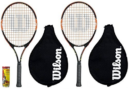 2 x Wilson Burn 25 Junior Tennis Racket Set+ 3 Balls