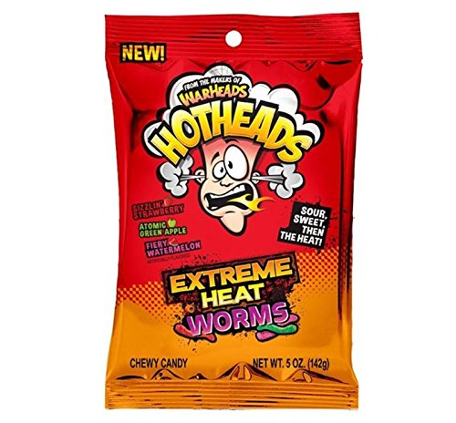 Warheads Hotheads Extreme Heat Worms - Chewy Candy Sour, Sweet Then Heat! 5oz Bag (5oz Bag (Pack of 3))