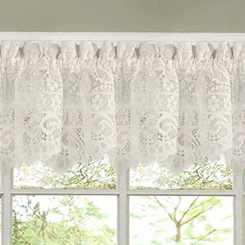 didit_li 1Pc Hopewell Heavy Floral Lace Kitchen Window Curtain 12