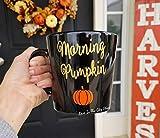Morning Pumpkin Coffee Mug - A Black Coffee Mug that is A fully custom glitter mug