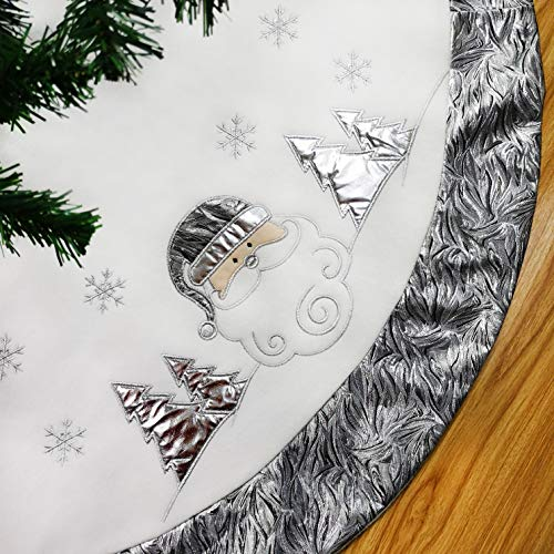 WEWILL 48'' Santa Claus Embroidered Silvery Christmas Tree Skirt Luxury with Satin Border Snowflake, Christmas Tree Skirt Themed with Christmas Stockings(Not Included)