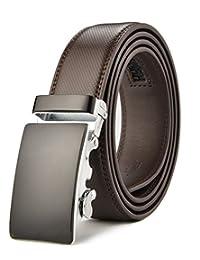 Men's Leather Belt Automatic Buckle Belt for Men Reversible Black & Brown (26-42)