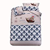 Cliab Kids Pirate Bedding Sets Pirate Sheets Full/Queen Applique 100% Cotton 4 Pieces