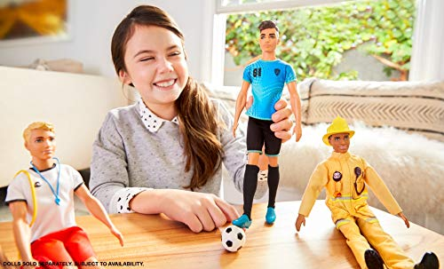 Ken Soccer Player Doll with Soccer Ball Wearing Soccer Uniform Accessorized with Soccer Socks and Cleats, Gift for 3 to 7 Year Olds