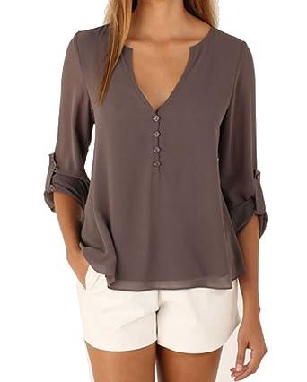 401f51704a AIYUE Camicia Donna Collo a V Maniche Lunghe in Chiffon Camisetta Bluse  Basic Estivo Causal Allentato Colore Solido Top