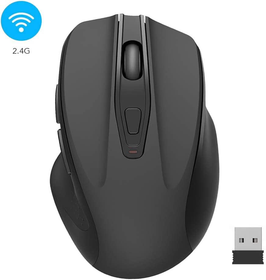 Computer Wireless Mouse, 2.4G Portable USB Mouse Ergonomic Mouse- Fit Your Hand Nicely,3 Adjustable DPI Levels, Page Down/Up Buttons, Designed for PC, Desktop, Laptop (Black)