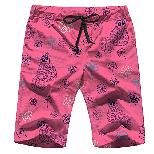 Cute Cat Flowers Nature Swim Trunks for Men Quick Dry Surf Board Shorts No Mesh Lining Beach Wear M ()