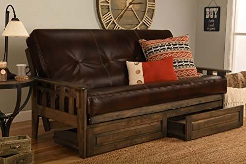 Jerry Sales Tucson Rustic Walnut Frame and Mattress Set with Choice to add Drawers, 8 Inch Innerspring Futon Sofa Bed Full Size Wood (Leather Cappuccino Matt, Frame and Drawers)