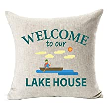 Best Summer Holiday Gifts Sweet Funny Sayings Welcome To Our Lake House Cotton Linen Throw Pillow Case Cushion Cover NEW Home Decorative Square 18X18 Inches