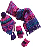 N'Ice Caps Big Girls Sherpa Lined Printed Hat/Scarf/Glove Knitted Accessory Set (Purple/Turq/Fuchsia/Black - Mittens, 5-7yrs)