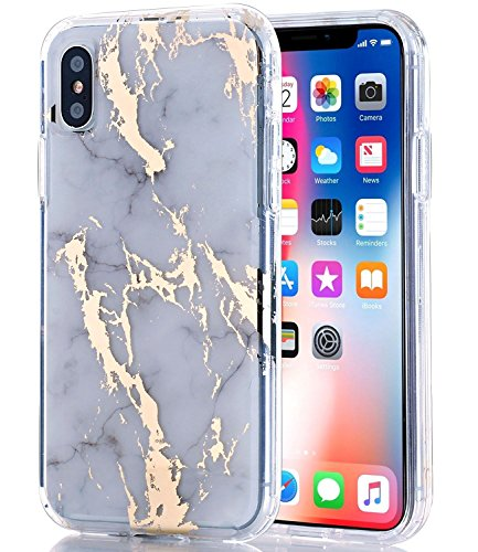 BAISRKE iPhone Xs Case, iPhone X Case Clear with Shiny Gold White Marble [Fusion] Hard PC Back Soft TPU Bumper Raised Edge Drop Protection Cover for Apple iPhone X/iPhone Xs 5.8