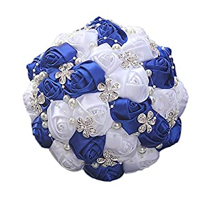 KUKI SHOP Handmade Bridal Bouquet Rose Artificial Flower Brooch Holding Flower Wedding Decoration 86