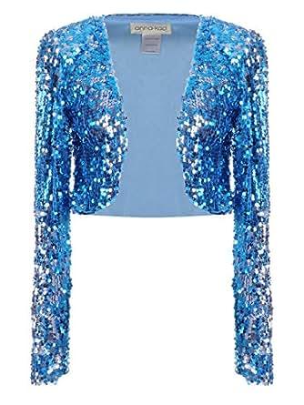 Anna-Kaci Womens Glitter Sequins Shiny Long Sleeve Cropped Bolero Blazers ShrugsSmallBlue