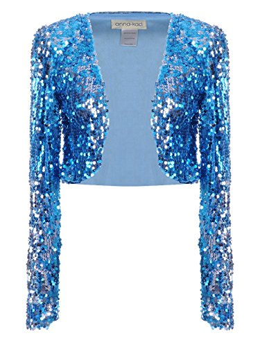 Anna-Kaci Womens Shiny Sequin Long Sleeve Glitter Cropped Blazer Bolero Shrug, Blue, X-Large ()