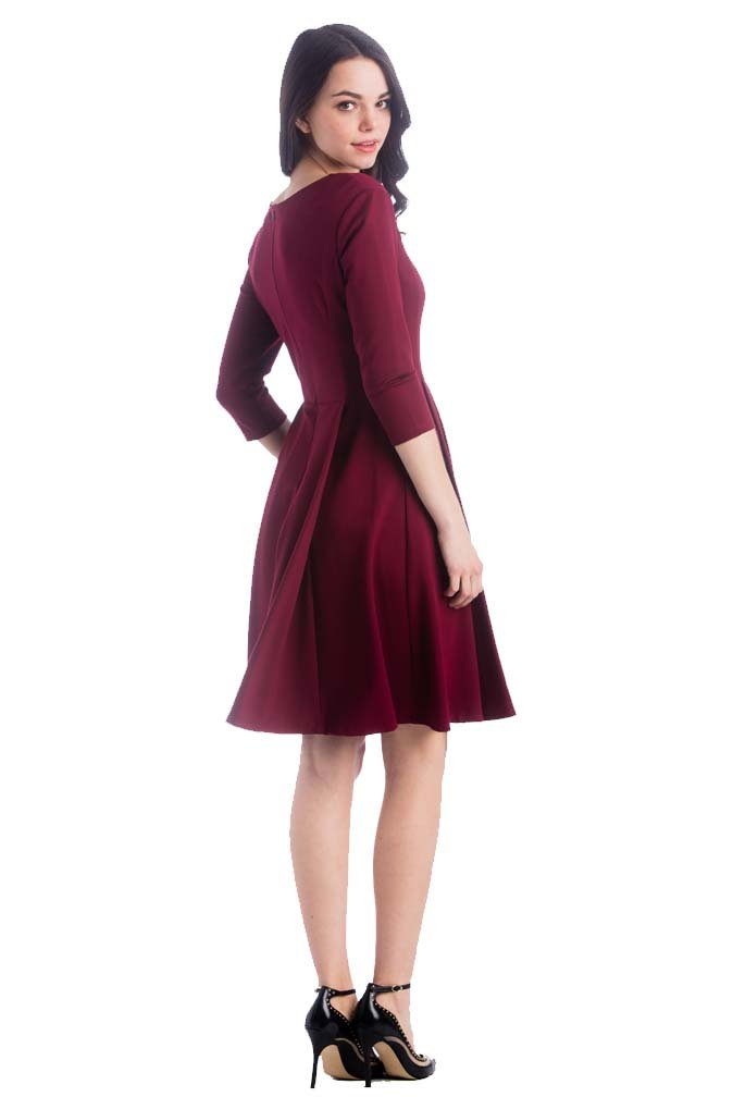 Lilac McCall Fit And Flare Maternity Dress - Marsala(Red) - Medium by Lilac (Image #4)