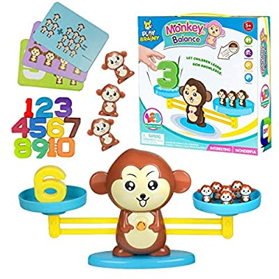 Play Brainy Balancing Monkey Math Game – Fun & Educational Monkey Scale Math Toy – Cute Numbers Counting Game for Girls & Boys – Perfect Learning Game for Young Children: Toys & Games