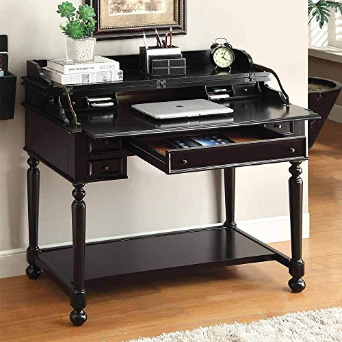 1PerfectChoice Lexden Traditional Secretary Computer Fold-Out Writing Tray Desk Drawers (Black Secretary Desk)