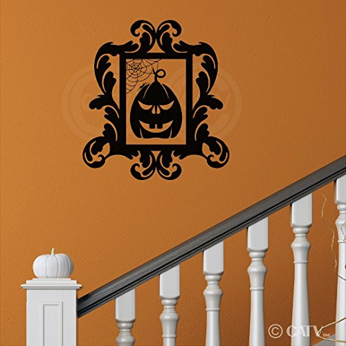 Halloween Frame #17 Scary Pumpkin portrait vinyl lettering decal home decor wall art sticker (Medium 16.5x18)