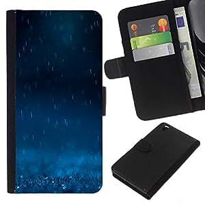 WINCASE Cuadro Funda Voltear Cuero Ranura Tarjetas TPU Carcasas Protectora Cover Case Para HTC DESIRE 816 - Lluvia Azul Oscuro Naturaleza Potente Sad