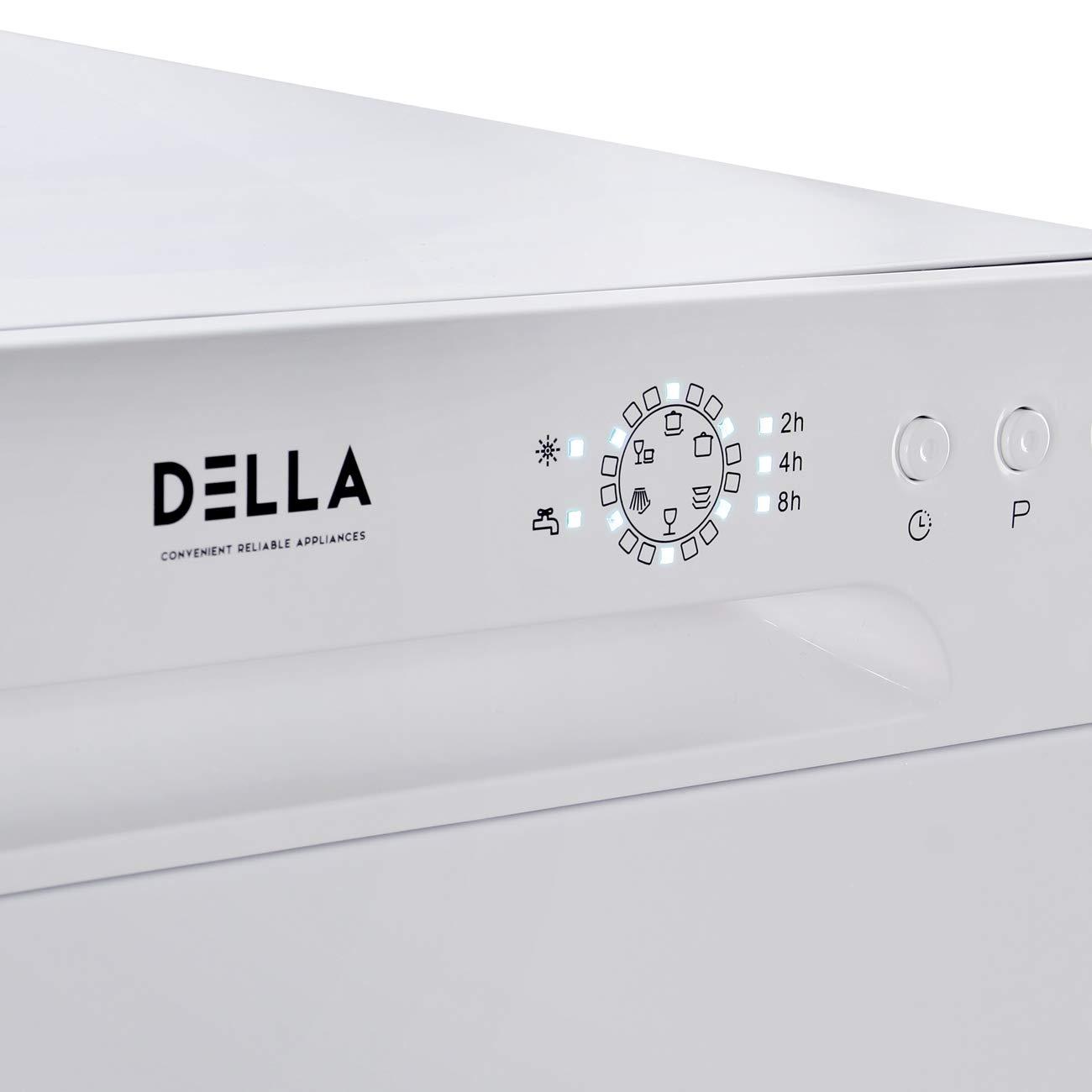 White DELLA Mini Compact Countertop Dishwasher 6 Place Settings Portable For Small Apartment Home Kitchen