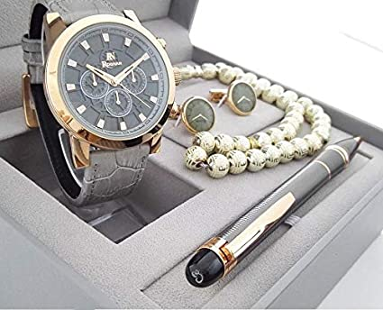 bc4762152 Roshan Watch Set For Men Analog Leather - RN-1730013: Amazon.ae