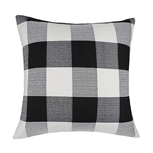 4TH Emotion 26 x 26 Inch Black and White Buffalo Check Plaids Throw Pillow Case Cushion Cover Retro Farmhouse Decorative for Couch Sofa Bed