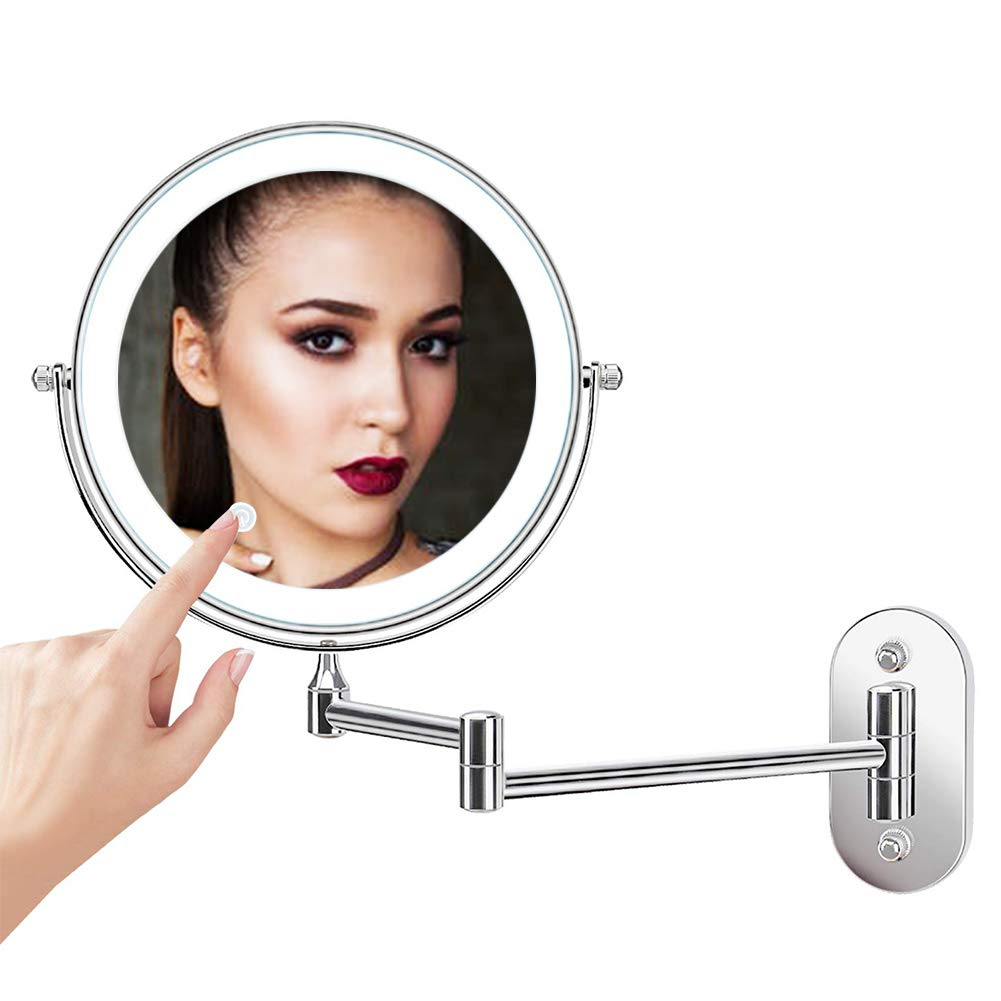 XIFIRY Wall Mounted Shaving Mirror 7X Magnification Double Sided Folding LED Bathroom Mirror Retractable 360°Swivel Illuminated Makeup Mirror, Powered by 4 x AAA Batteries,8 Inches