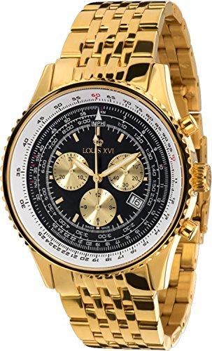 Louis Quartz Watch - Louis XVI Men's-Watch Artagnan l'acier l'or Noir Swiss Made Chronograph Analog Quartz Stainless Steel Gold 595